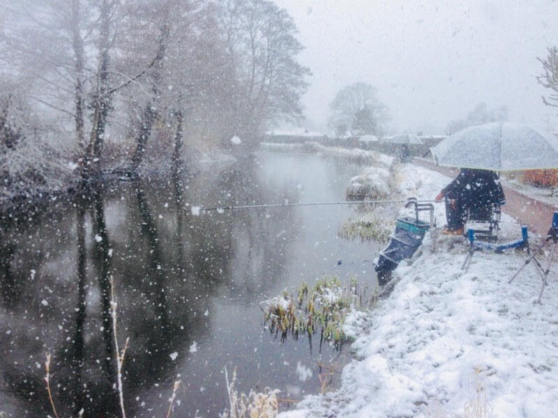 Winter canal fishing match Tiverton Devon